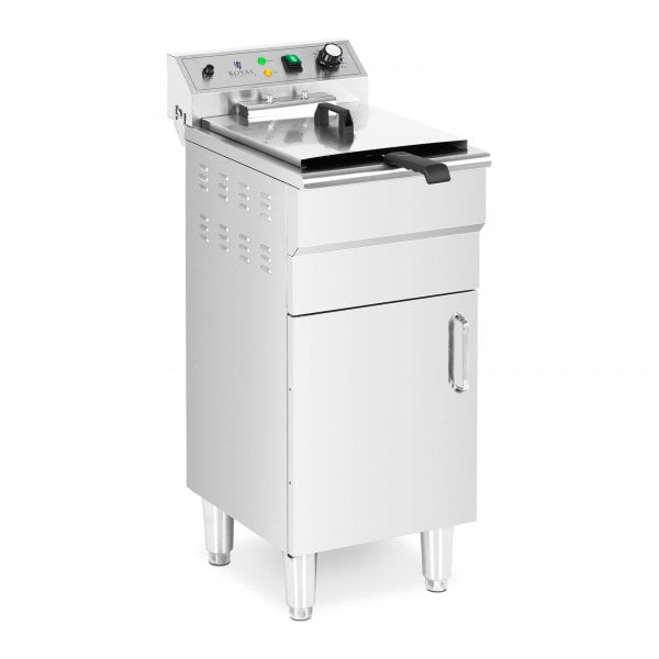 Friggitrice professionale elettrica - 13 L - 5000 W - Rubinetto di scarico - Zona fredda - Con mobiletto