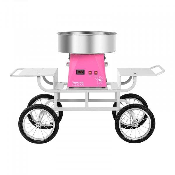 Set macchina per zucchero filato con carrello - 52 cm - rosa/bianco