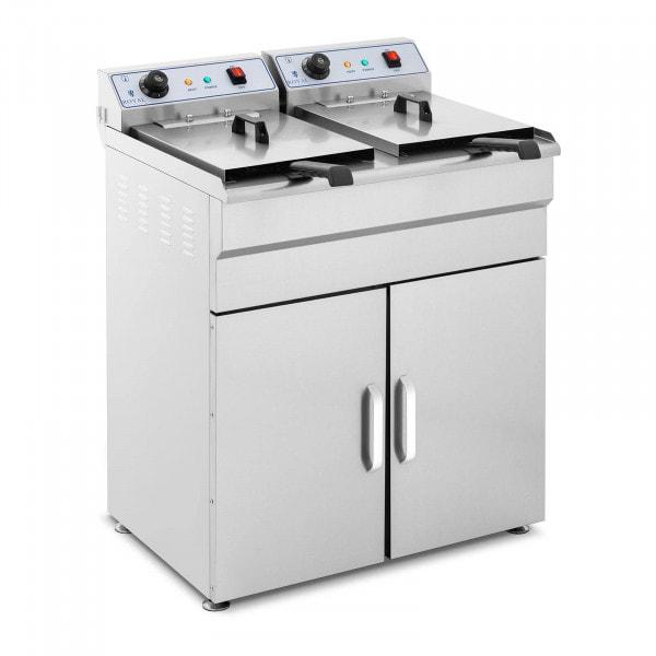 Friggitrice elettrica - 2 x 16 litri - 400 V - con armadietto
