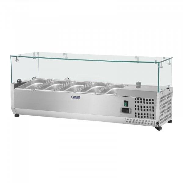 Vetrina refrigerata - 120 x 33 cm - 5 contenitori GN 1/4 - Copertura in vetro