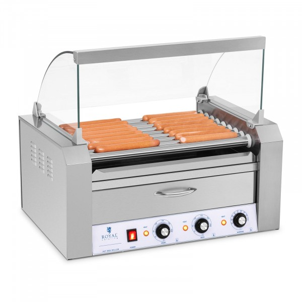 Cuoci Hot dog - 9 Rulli - Cassetto scaldavivande - Acciaio inox