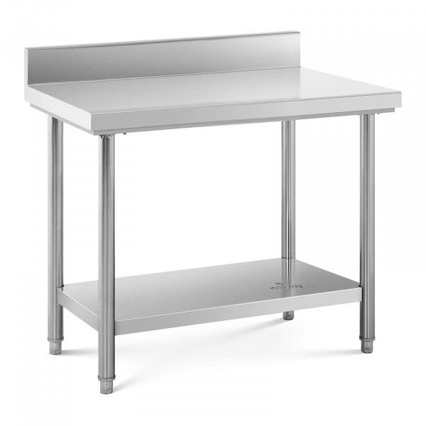 Tavolo acciaio inox con alzatina - 100 x 60 cm - capacità di carico: 90 kg