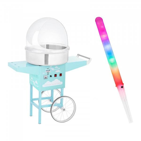 Macchina per zucchero filato Set con bastoncini LED, cupola paraschizzi e carrello - 52 cm - 1.200 W - turchese