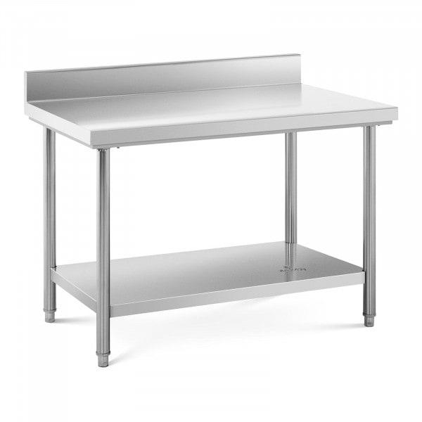 Tavolo acciaio inox con alzatina - 120 x 70 cm - capacità di carico: 143 kg