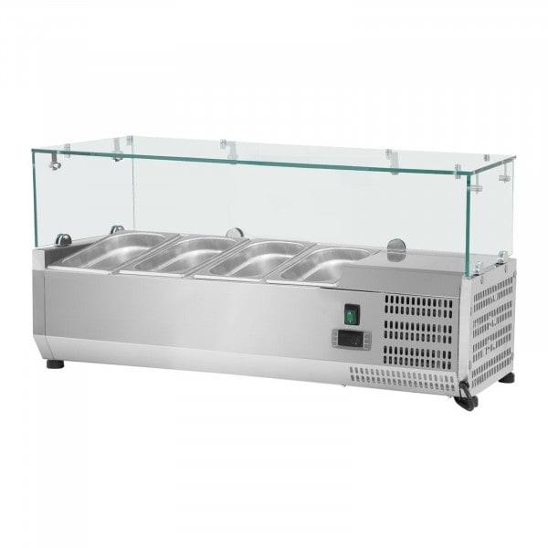 Vetrina refrigerata - 120 x 39 cm - 4 contenitori GN 1/3 - Copertura in vetro