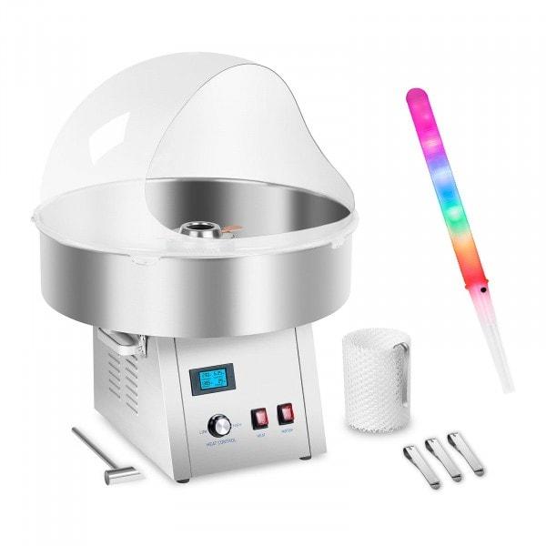 Macchina per lo zucchero filato set con bastoncini LED, cupola paraschizzi e rete - 62 cm - 1.500 W