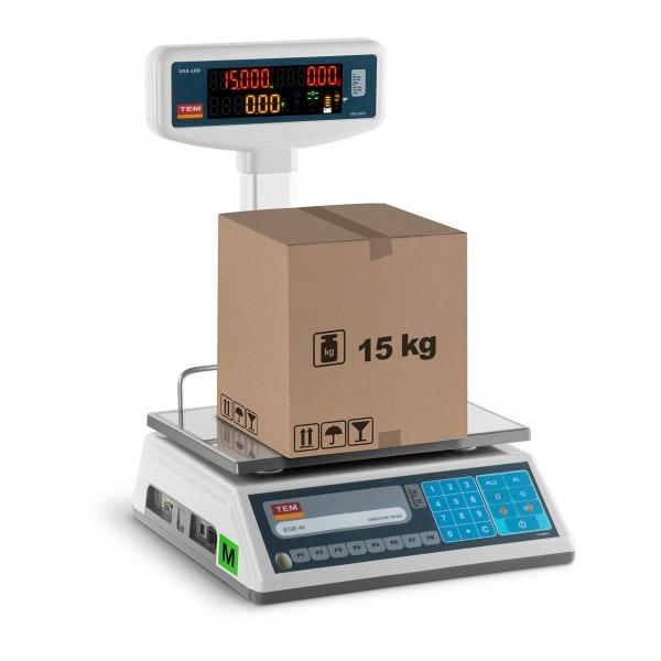 Bilancia da banco prezzatrice con diplay LED alto - tarabile - 6 kg/2 g - 15 kg/5 g