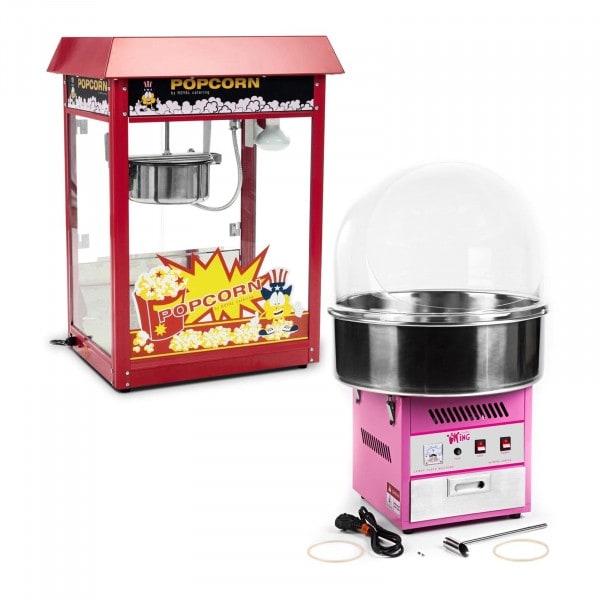 Set macchina per popcorn e macchina per zucchero filato - 1.600 W / 1.200 W - Cupola paraschizzi