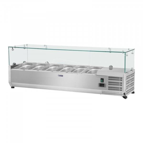 Vetrina refrigerata - 140 x 33 cm - 6 contenitori GN 1/4 - Copertura in vetro