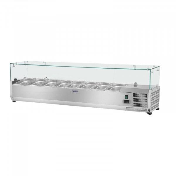 Vetrina refrigerata - 180 x 39 cm - 8 contenitori GN 1/3 - Copertura in vetro