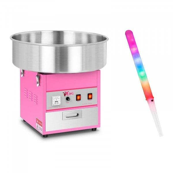 Macchina per zucchero filato SET con bastoncini LED- 52 cm - 1.200 Watt - 50 pezzi