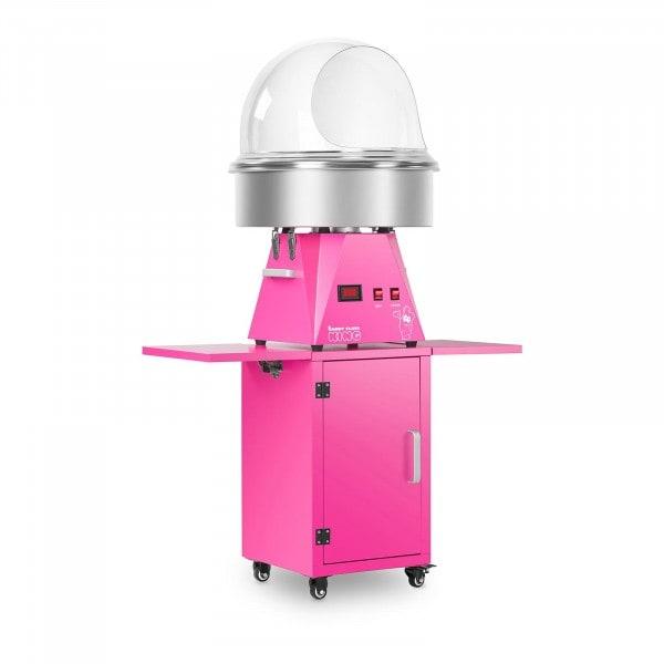 Set macchina per zucchero filato con carrello e protezione anti-schizzo- 52 cm - rosa/rosa