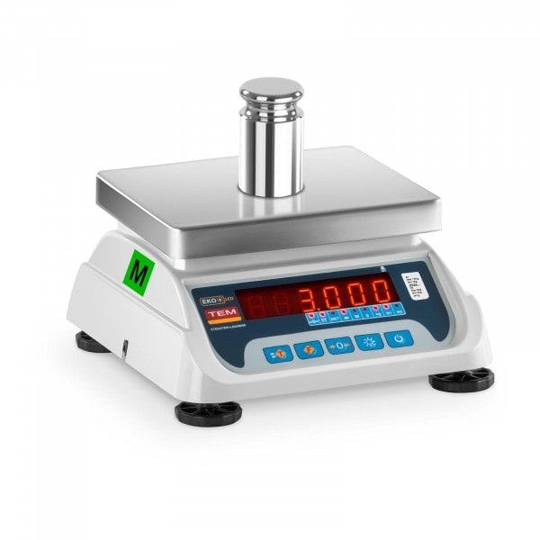Seconda Mano Bilancia da tavolo - tarata - 1,5 kg/ 0,5g - 3 kg/1 g - LED