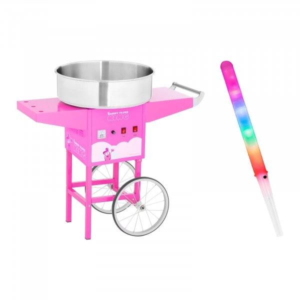 Macchina per zucchero filato Set con bastoncini LED e carretto - 52 cm - 1.200 W - rosa