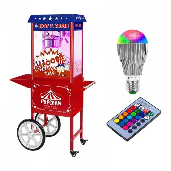 Set macchina per pop corn con carrello e lampadina LED - Design USA - Rosso