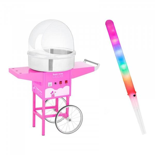 Macchina per zucchero filato Set con bastoncini LED, cupola paraschizzi e carrello - 52 cm - 1.200 W - rosa