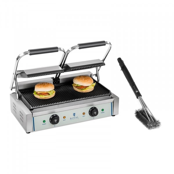 Set piastra panini doppia e spazzola per griglia - Rigata - 2 x 1.800 W