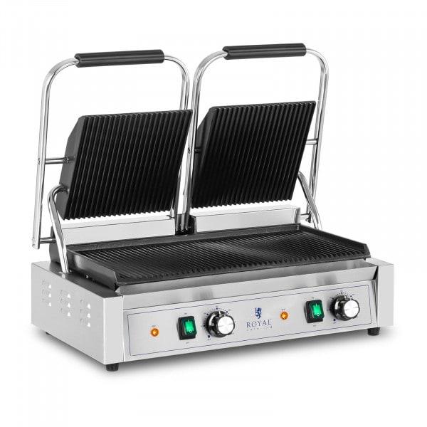 Piastra per panini, toast e bistecchiera elettrica doppia - 3600 W - Rigata