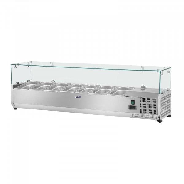 Seconda Mano Vetrina refrigerata - 160 x 39 cm - 7 contenitori GN 1/3 - Copertura in vetro
