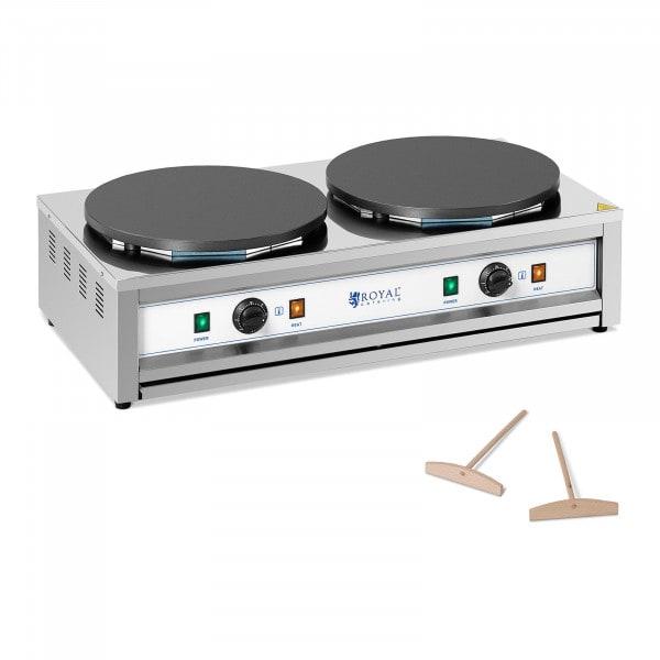 Crepiera elettrica - Piastra doppia - 2 piastre riscaldanti - 2 x 400 mm - 2 x 3000 W