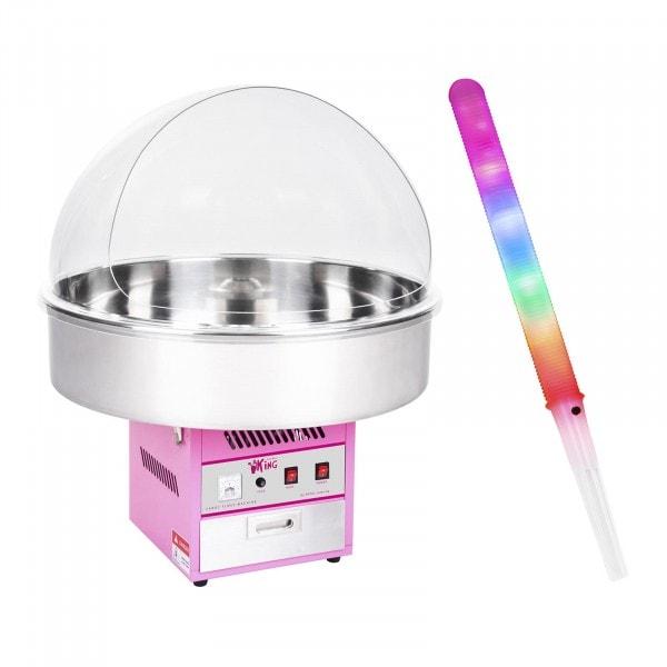 Macchina per zucchero filato SET con bastoncini LED e cupola paraschizzi - 72 cm - 1.200 W - 50 pezzi