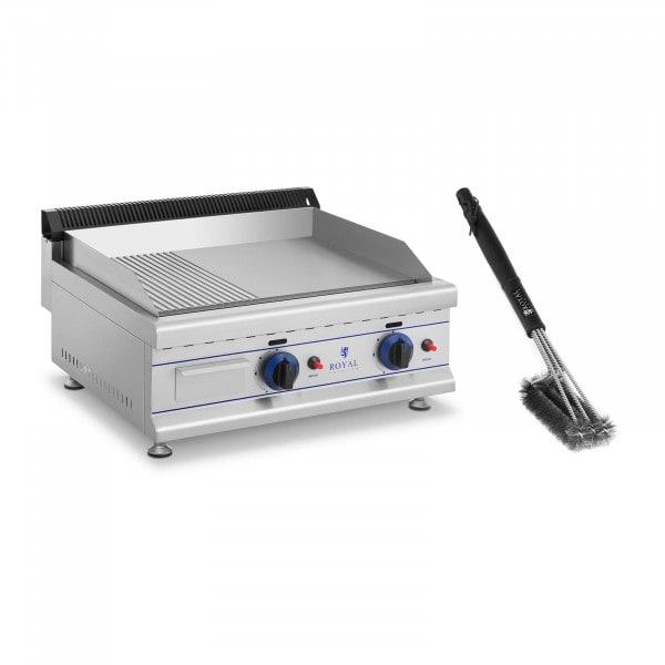 Fry top a gas doppio - SET con spazzola per griglia - 65 cm - Gas naturale - 20 mbar