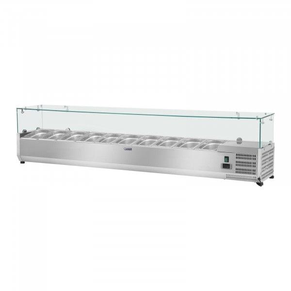 Vetrina refrigerata - 200 x 33 cm - 10 contenitori GN 1/4 - Copertura in vetro