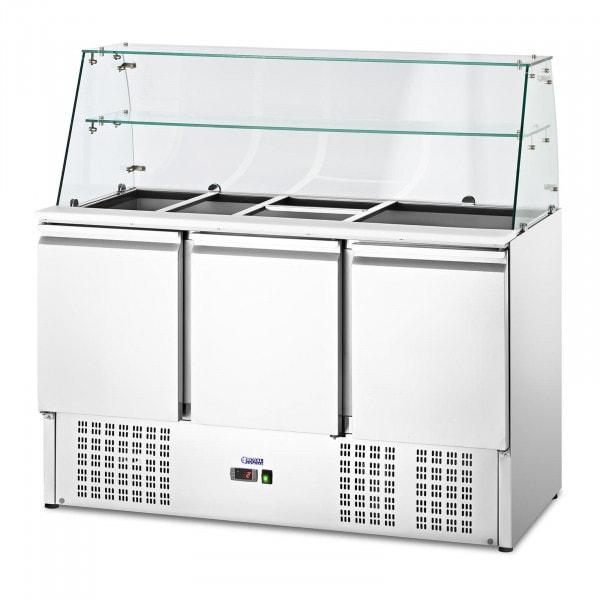 Vetrina refrigerata - Con piano in vetro - royal_catering - 368 L - Per 8 contenitori GN - 281 x 127.5 cm