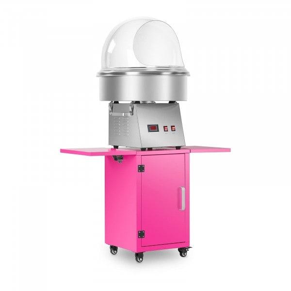 Set macchina per zucchero filato con carrello e protezione anti-schizzo - 52 cm - Acciaio inox/rosa