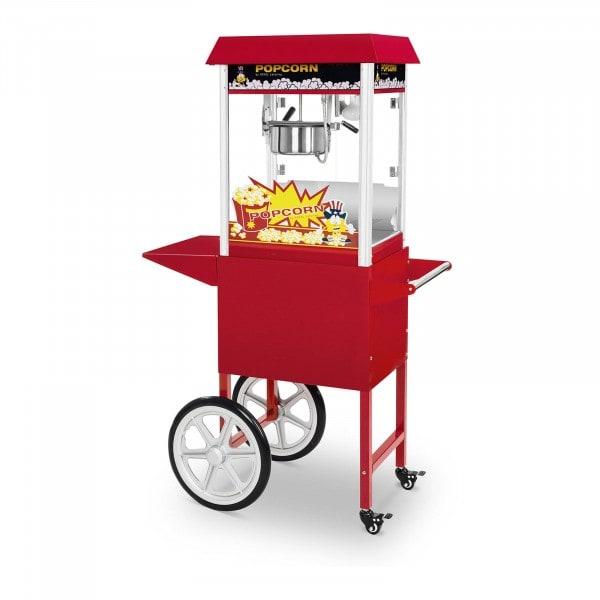 Set macchina per pop corn con carrello - 1.495 W - design retrò - rossa
