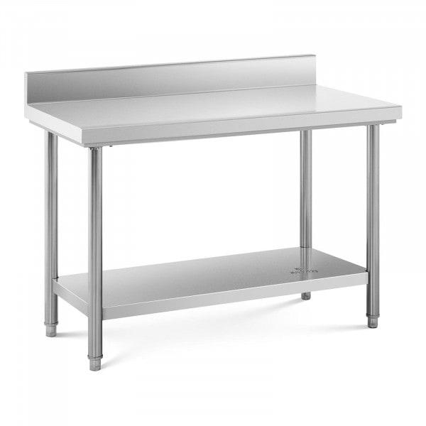 Tavolo acciaio inox con alzatina - 120 x 60 cm - capacità di carico: 110 kg