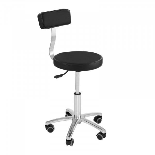 Seconda Mano Sgabello con schienale - Tondo - A rotelle - TERNI BLACK