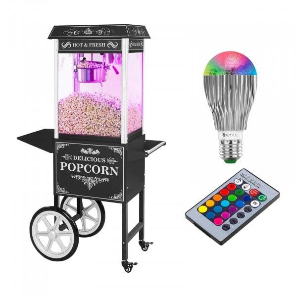 Set macchina per pop corn con carrello e lampadina LED - Design retró - nero