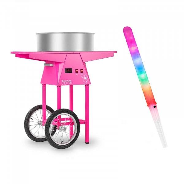 Macchina per zucchero filato Set con bastoncini LED e carretto - 52 cm - 1.030 Watt