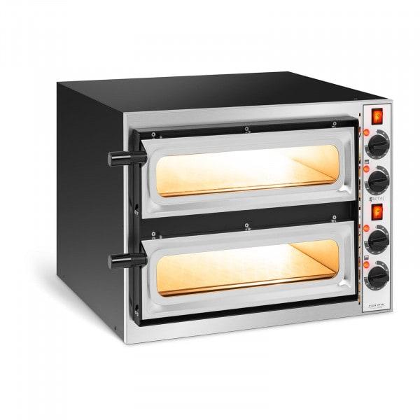 Forno elettrico per pizza professionale - 2 camere - 2 x Ø 32 cm - Porta in vetro