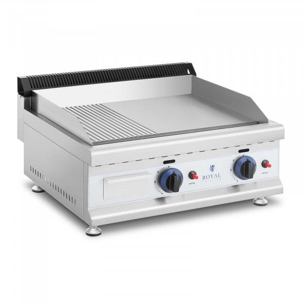 Griglia fry top a gas - Piastra in acciaio rigata e liscia - 60 x 40 cm - 2 x 3.100 W - Propano/butano - 20 mbar