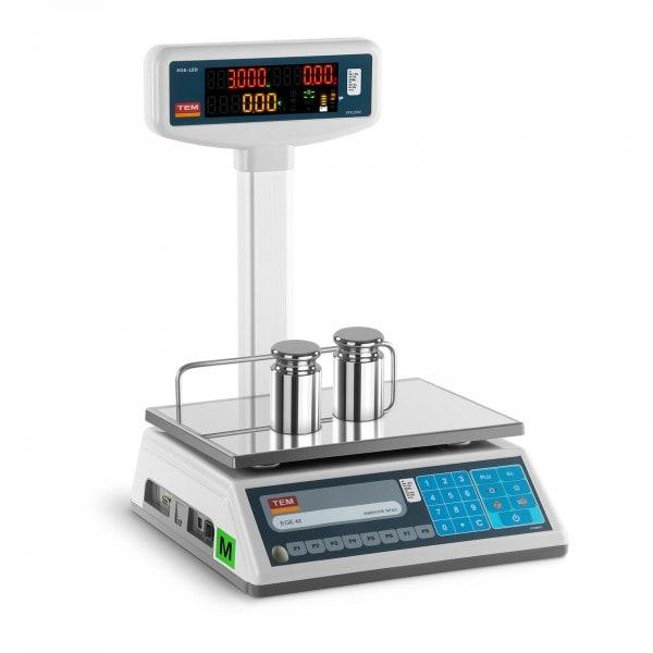 Bilancia da banco prezzatrice con diplay LED alto - tarabile - 1,5 kg/ 0,5g - 3 kg/1 g