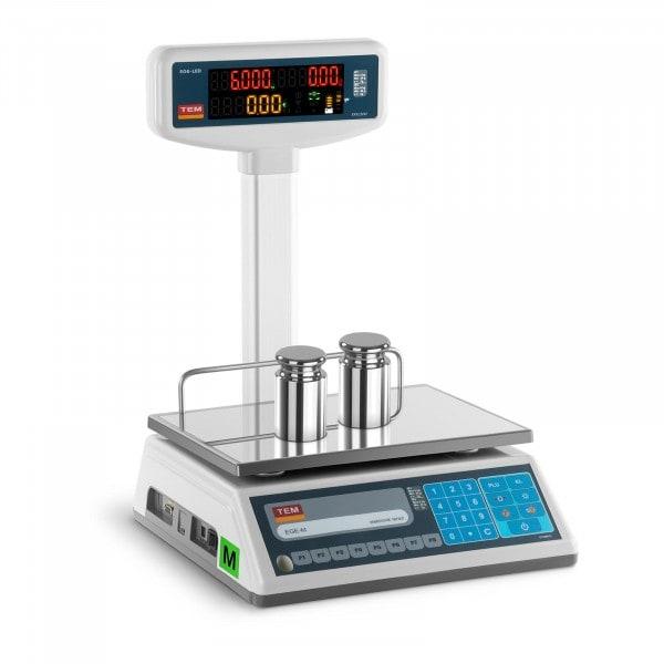 Bilancia da banco prezzatrice con diplay LED alto - tarabile - 3 kg/1 g - 6 kg/2 g