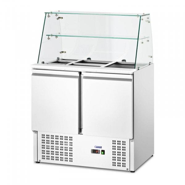 Vetrina refrigerata - Con piano in vetro - royal_catering - 240 L - Per 7 contenitori GN - 190 x 129 cm