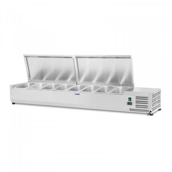 Seconda Mano Vetrina refrigerata - 160 x 33 cm - 8 contenitori GN 1/4