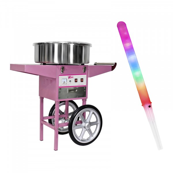 Macchina per zucchero filato SET con carretto e bastoncini LED - 52 cm - 1.200 W - 100 pezzi