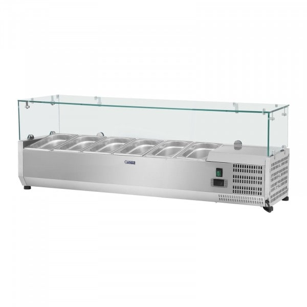 Vetrina refrigerata - 140 x 39 cm - 5 contenitori GN 1/3 - Copertura in vetro