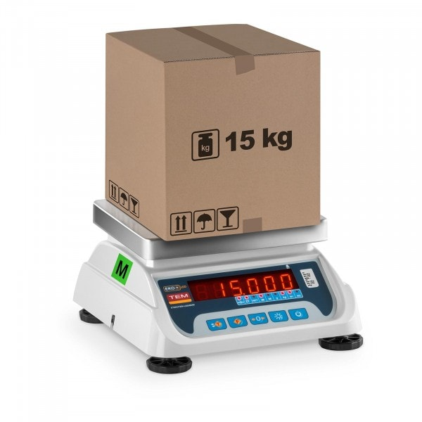 Bilancia da tavolo - tarata - 6 kg/2 g - 15 kg/5 g - LED