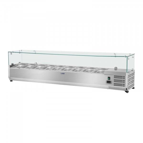 Vetrina refrigerata - 180 x 33 cm - 9 contenitori GN 1/4 - Copertura in vetro