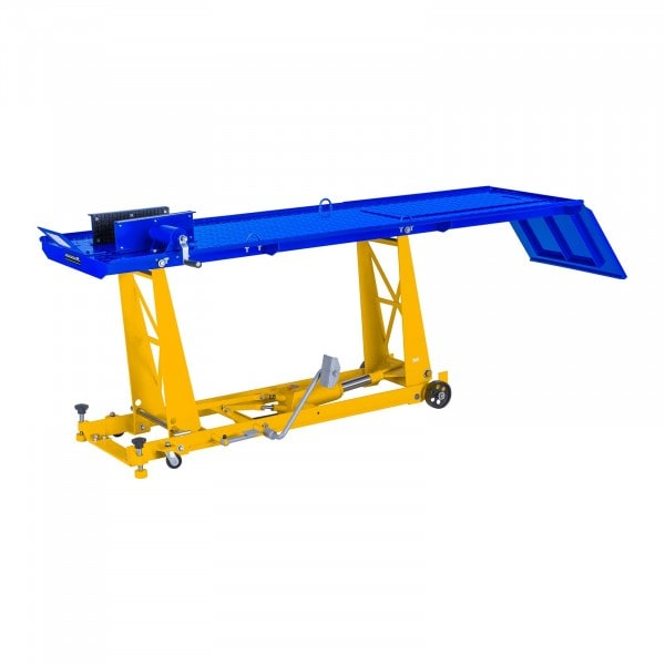 Ponte sollevatore per moto con rampa e morsetto bloccaggio - 450 kg - 220 x 68 cm
