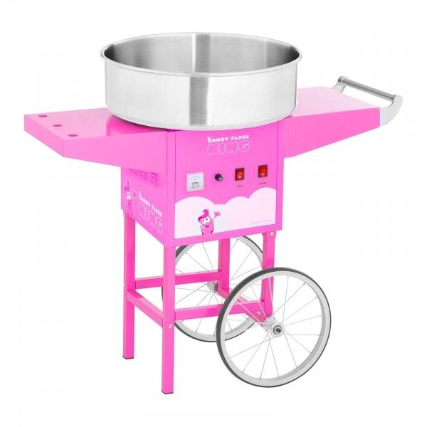 Macchina per zucchero filato con carrello - 52 cm - 1.200 W - rosa