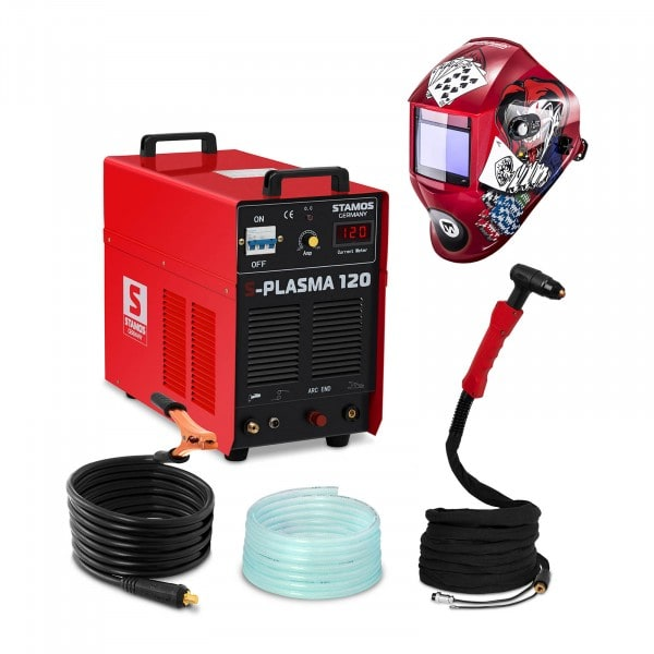 Set di saldatura Tagliatrice al plasma - 120 A - 400 V - Innesco HF + Maschera da saldatore - Pokerface - PROFESSIONAL SERIES