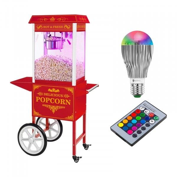 Set macchina per pop corn con carrello e lampadina LED - Design rétro - Rosso