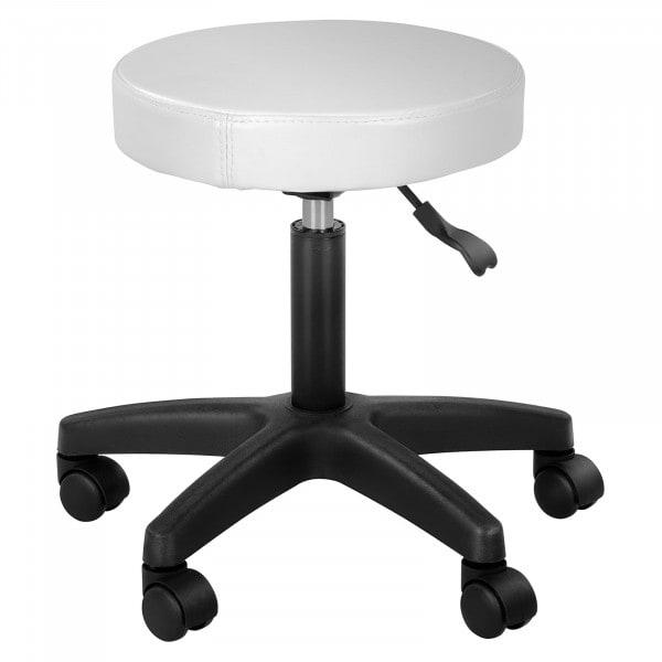 Sgabello tondo - a rotelle - Simplex in Bianco